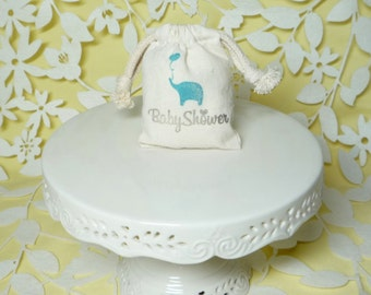 elephant baby shower bag muslin handstamped