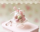 Dollhouse Miniature Food - Sweet Macarons on Glass Display Stand - For Lati Yellow or Pukifee Dolls