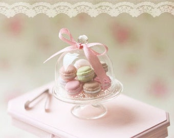 Dollhouse Miniature Food - Sweet Macarons on Glass Display Stand - For Lati Yellow or Pukifee Dolls