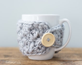SALE Light Grey Mug Cozy, Grey Mug Cozy, Mug Warmer, Ready to Ship, Mug Cover