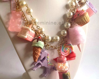 Pink Statement Necklace Kawaii Candy Statement Necklace Dessert Charms Cotton Candy Pink Gumball Machine Unicorn Couture Necklace