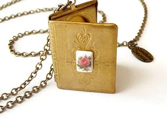Vintage Book Locket Necklace - Locket Pendant - Vintage Jewelry - Pink Rose - Brass Chain Reader Locket Pendant II (SD1099)