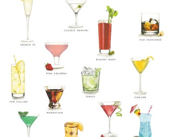 Mid Century Cocktails Watercolor Illustration Print