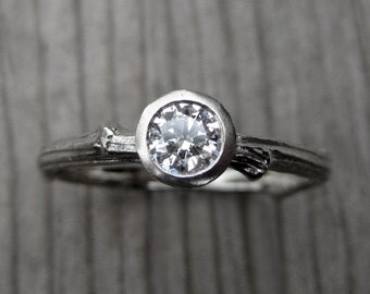 Diamond Twig Engagement Ring: Recycled Gold, VS/GH .25ct Diamond