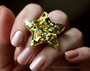 Resin Gold Star Glitter Ring, Golden Glitter Stars Ring, Bold Twinkle Cosmos Ring, Rainbow Gold Holographic Glitter Star Jewelry by isewcute