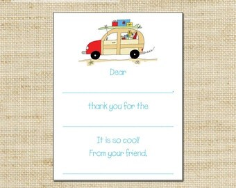 Woody Wagon Fill In Thank You Cards - 10 Cool Kids Note Cards