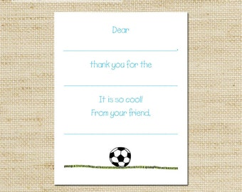 Soccer Ball Thank You Cards - 10 Fill In Note Cards