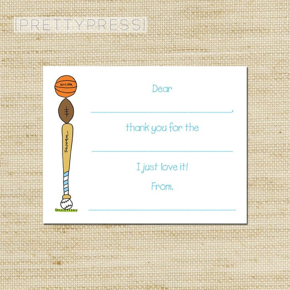 Eco-Friendly Kids Sports Thank You Note Cards - 10 Note Cards with Stacked Sport Balls