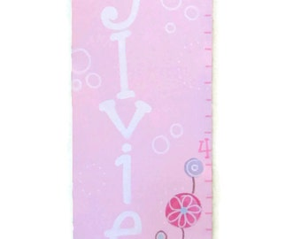 Garden Whimsy Butterfly and Flowers Canvas Growth Chart