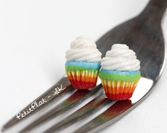 Happy Rainbow Cupcake Studs / Post Earrings, Miniature Food Jewelry