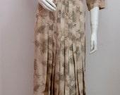 Vintage Silk Dress 1950s Pleated Tea Dress UK 16 Size Large Beige Neutral Print Day Dress