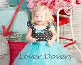 Retro Polka Dot  dress  Retro tutu dress with aqua blue trim ROCKABILLY I Love Lucy girls toddler infant fifties style aqua dress 50s
