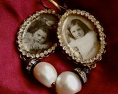 Lilygrace Victorian Girls Original Photo Earrings with Vintage Rhinestones and  Freshwater Pearls