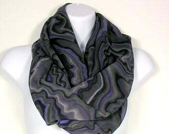 Womens Scarves Large Gray Chiffon Fashion Scarf Chunky Gray Scarf Wide Fashion Scarf Large Gray Infinity Scarf Wide Gray Infinity Scarf