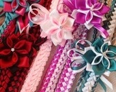 Double Braid Ribbon Lei With Flower