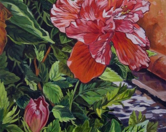 An original painting of  tropical peach flower