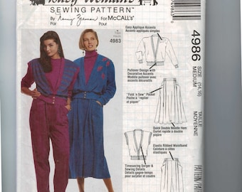 1990s Sewing Pattern McCalls 4986 Busy Womans Sewing Pattern Pullover Cardigan or Vest Skirt Pants Stretch Knit Size 14 16 Bust 36 38 UN  99