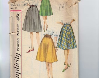 1960s Vintage Sewing Pattern Simplicity 4555 Misses A Line Skirt Waist 24 Hip 33 60s  99