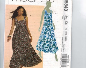 Misses Sewing Pattern McCalls M5843 5843 High Waisted Empire Sundress Maxi Dress Size 6 8 10 12 14 16 18 20 Bust 30 32 34 36 38 40 42 UNCUT