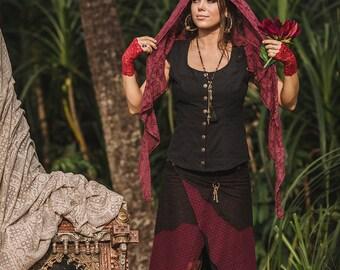 Sale - LONG PIXE SKIRT - Faery fairy costume Boho Hippie Burning man Bohemian Elf Fantasy Gothic Gypsy Witch Goa Vintage - Black Burgundy