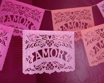Mexican wedding decorations - AMOR papel picado banners - custom color