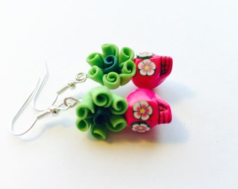 Sugar Skull Earrings Day of the Dead Jewelry Pretty Pink and Green