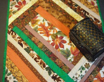 Quilted Multi-Striped Autumn Table Runner with Orange, Green, Brown,Beige