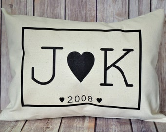 Personalized pillow, Cotton Anniversary, 2nd anniversary, Couples pillow,  - black hearts pillow, anniversary pillow,