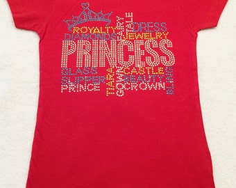 Red Girl Tee Shirt Red Princess Shirt Red Tee Shirt Princess Tee Shirt