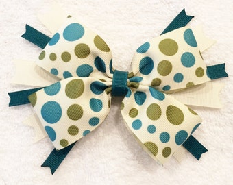 Spike Hair Bows Polka Dot Hair Bows Layered Hair Bows Green Hair Bows Girls Hair Bows Barrettes And Clips