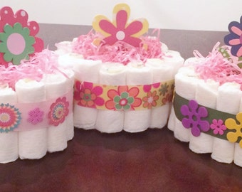 Mini Diaper Cakes Baby Accessories Diaper Cake For Girl Party Centerpiece Flower Diaper Cakes