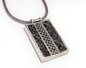 Sterling Filigree Pendant: 24 inch wheat chain, 925 silver, rectangle pendant, antique necklace, vintage jewelry, elven jewelry, rivendell
