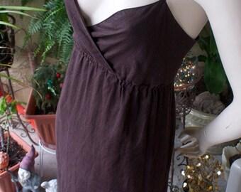Vintage 80s Bohemian Prairie Festival Brown Cotton Tiered Spaghetti Strap Model Long Maxi Dress L