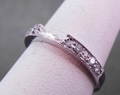 14K white gold Diamond custom wedding band for square or cushion cut  bridal set. Total diamond weight is .30 carats