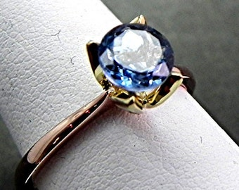AAAAA Santa Maria Aquamarine   6.11mm  .81 Carats   18K Rose two tone 18K Green gold Solitaire Tulip Engagement ring Natural Untreated  1477