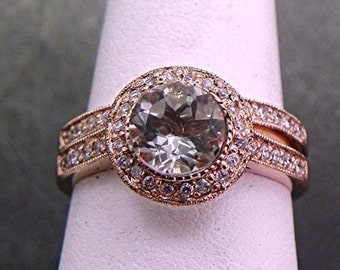 Green Amethyst (Prasiolite) 7mm  1.31 Carat AAA Round Natural in 14K Rose gold bridal set with .35cts of diamonds. B007 1468