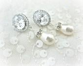 Wedding Earrings, Swarovski Pearl Drop Earring with Large Oval CZ Post style earring, wedding earrings, pearl earring, bridal earrings, cz