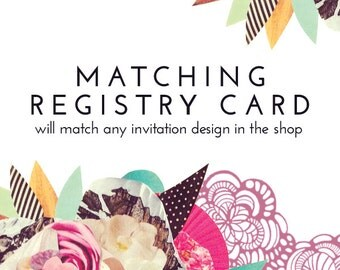 Matching REGISTRY CARD, book card, info card, for Baby Shower, Customized, to Match Any Invitation in the Shop - DIY - Digital Item