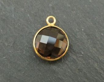 Smoky Quartz Gold Vermeil Round Pendant 14mm (CG7165)