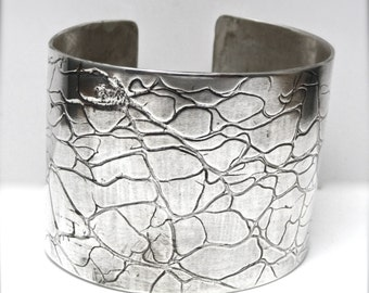 ON SALE Silver Cuff Wide Cactus Impression Prickly Pear Rolling Mill Embossed Sterling Silver Bracelet Lois McManus Evitts Creek Arts