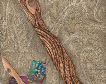 """Athame Wiccan Athame All Wood """"Neptune's Waves"""" Cedar Witch Pagan"""