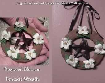 Pentacle Wreath Dogwood Blossom Handmade