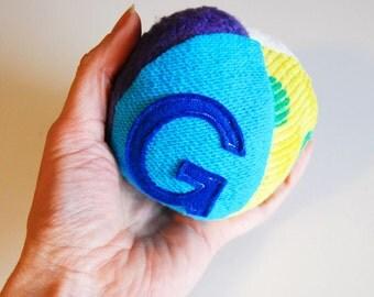 Custom Eco Organic BOY Personalized Initial Fabric Fun Ball Rainbow Brights Montessori Play