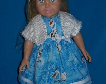 "Frozen Inspired Olaf with a Warm Shrug American Girl 18"" Doll Dress Handmade"