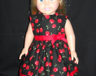 "Black with Cherries American Girl 18"" Doll Dress Handmade"
