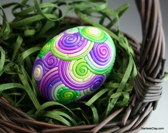 Fimo Easter Egg in Purple and Green Filigree (Large)