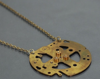 Steampunk Necklace- Contemporary Jewelry, Cyberpunk Jewelry, Brass Upcycled Clock Part Steampunk Jewelry, Industrial Necklace by Tanith Rohe