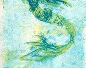 OOAK One of a Kind Dreamy Mermaid Art, Turquoise Aqua Yellow Blue Wall Decor, Art Deco Mermaid, Fantasy Wall Art, Naive Fantasy Art, Print
