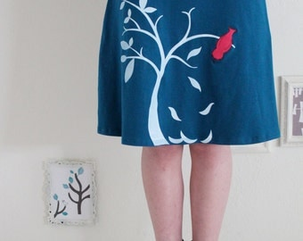 Plus Size Midi A-line Skirt, Pull on jersey skirt, Cotton Teal Blue Knee Length skirts with bird applique - The bird and the falling leaves