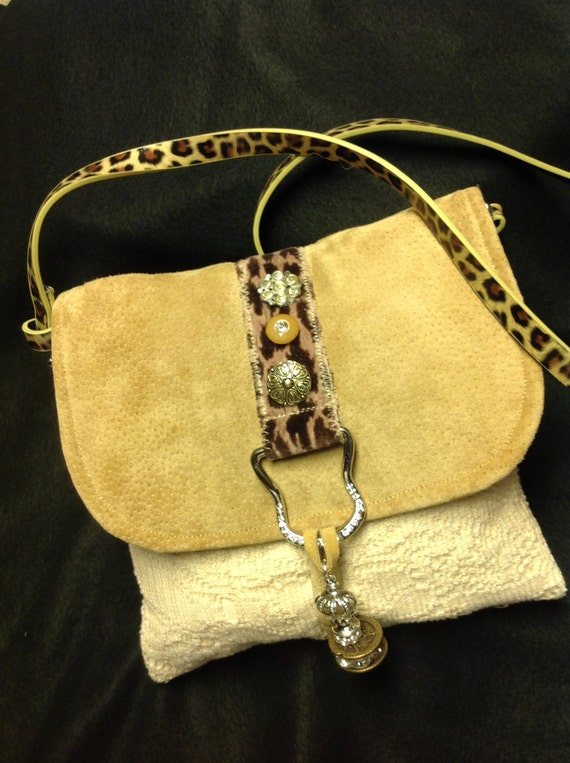 Small Cheetah Print, Suede & Lace Shoulder Purse